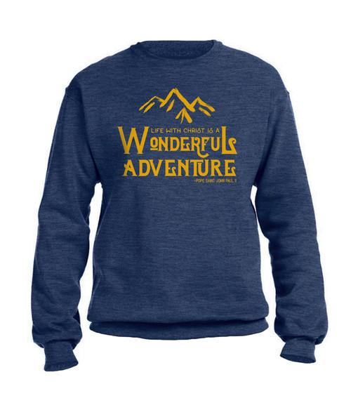 """Wonderful Adventure"" Pope Saint John Paul II Heather Navy Crewneck Sweatshirt"