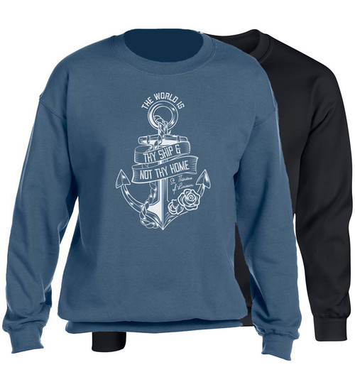 """The World Is Thy Ship"" Crewneck Sweatshirt"