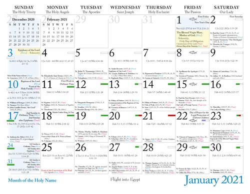 Photos of Traditional Latin Mass Calendar 2021