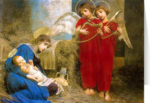 Angels Entertaining the Holy Child by Marianne Stokes Christmas Cards  (25 Cards)