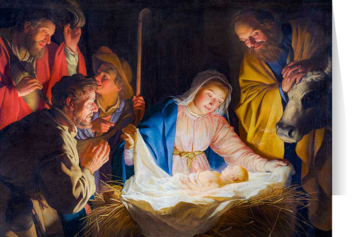 Adoration of the Shepherds by Gerard van Honthorst Christmas Cards  (25 Cards)