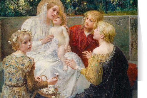 Madonna with Jesus Surrounded by Children by Eduard Veith Christmas Cards  (25 Cards)