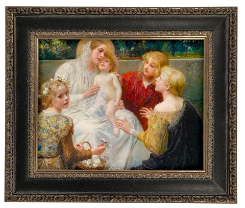 LIMITED EDITION Madonna with Jesus Surrounded by Children - Black and Antique Metallic Framed Canvas