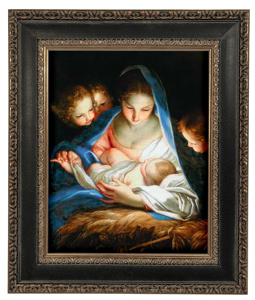 LIMITED EDITION Nativitá by Carlo Maratta - Black and Antique Metallic Framed Canvas