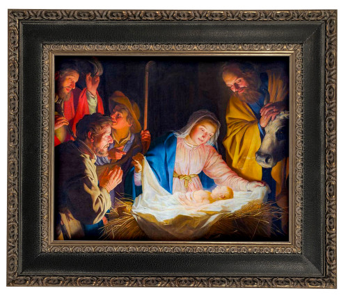 LIMITED EDITION Adoration of the Shepherds by Gerard van Honthorst - Black and Antique Metallic Framed Canvas