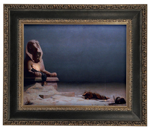 LIMITED EDITION Rest on the Flight into Egypt by Merson - Black and Antique Metallic Framed Canvas