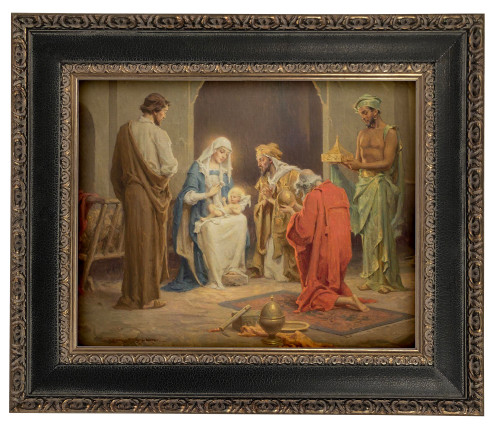 LIMITED EDITION Chambers' Nativity - Black and Antique Metallic Framed Canvas