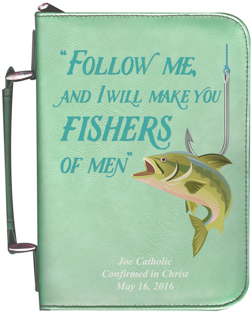 Personalized Fisherman's Bible Cover Graphic - Aqua