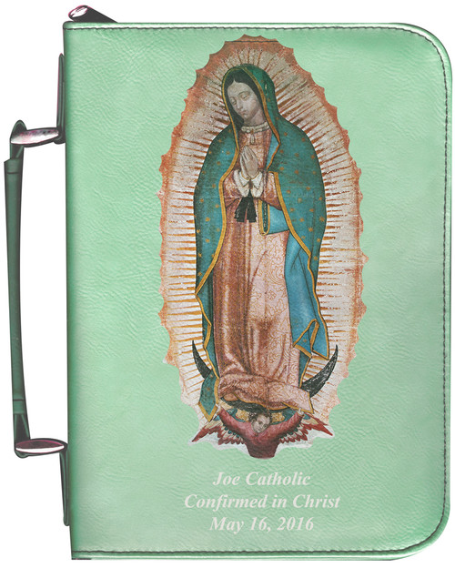Personalized Bible Cover with Our Lady of Guadalupe Graphic - Aqua