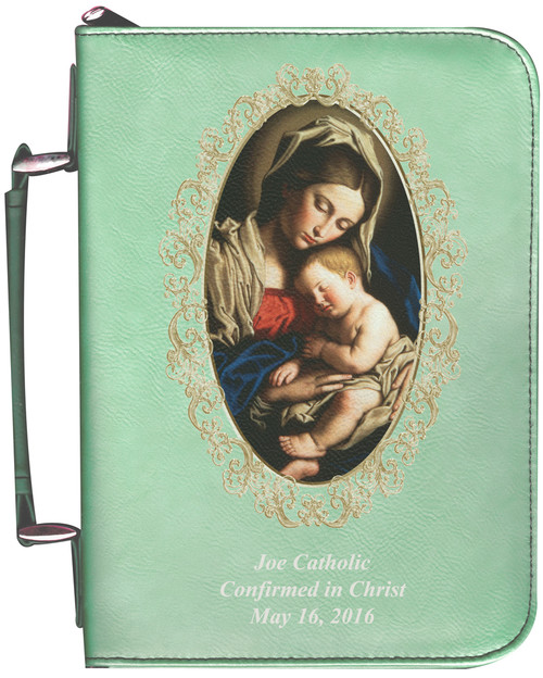 Personalized Bible Cover with Madonna and Her Child Graphic - Aqua