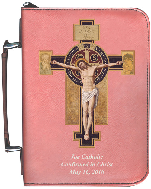Personalized Bible Cover with Benedictine Cross Graphic - Rose