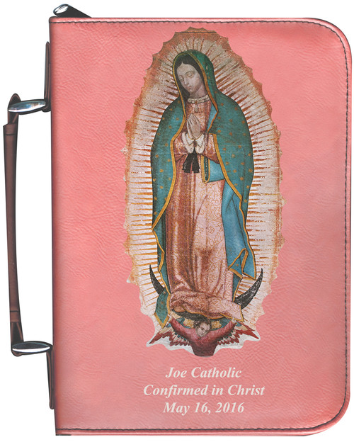 Personalized Bible Cover with Our Lady of Guadalupe Graphic - Rose