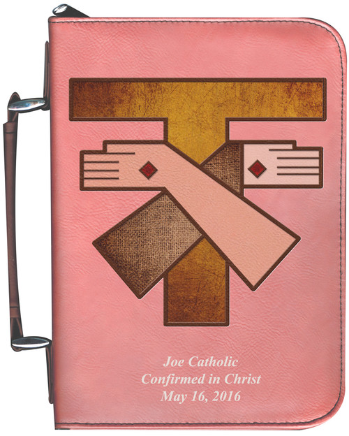 Personalized Bible Cover with Franciscan Crest Graphic -Rose