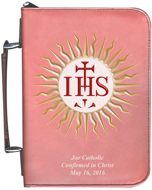 Personalized Bible Cover with Jesuit IHS Graphic - Rose