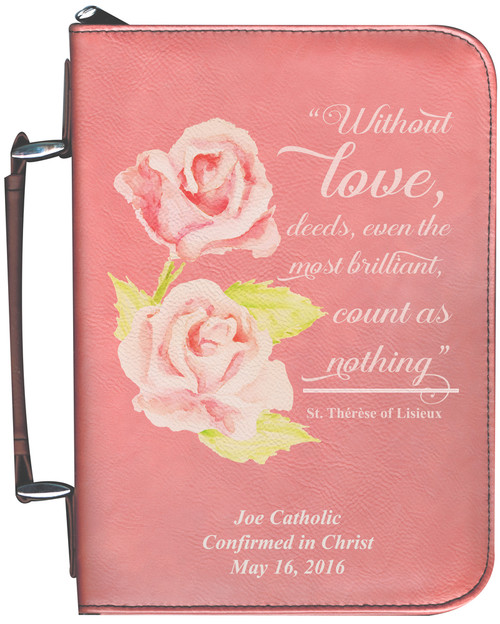 Personalized Bible Cover with St. Therese Rose Graphic - Rose