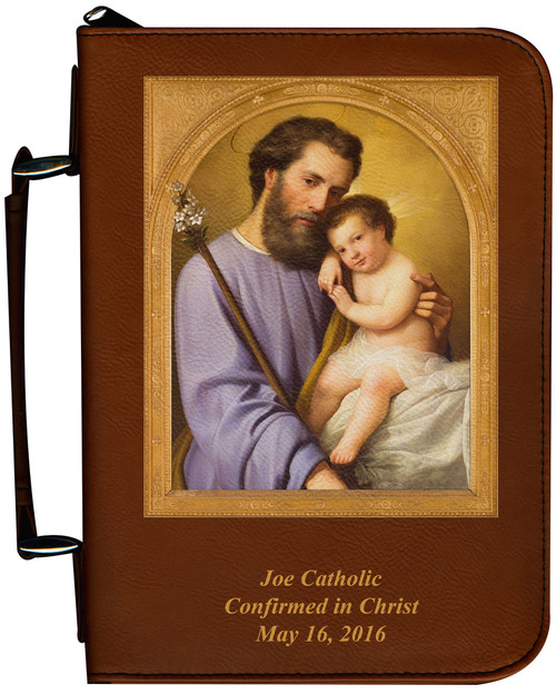 Personalized Bible Cover with St. Joseph - Tawny