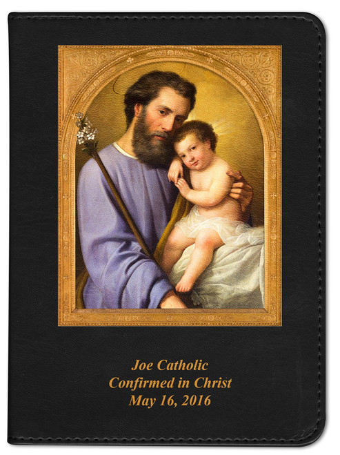 Personalized Catholic Bible with St. Joseph Cover - Black RSVCE