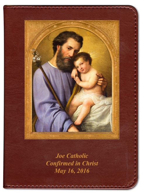 Personalized Catholic Bible with St. Joseph Cover - Burgundy RSVCE