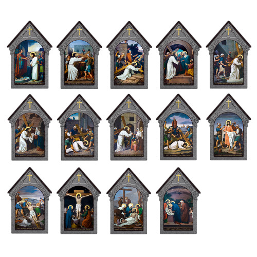 Emmerich Indoor Outdoor Stations of the Cross Aluminum Shrine Prints (Set of 14)