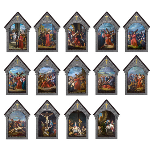 Bertucci Indoor Outdoor Stations of the Cross Aluminum Shrine Prints (Set of 14)