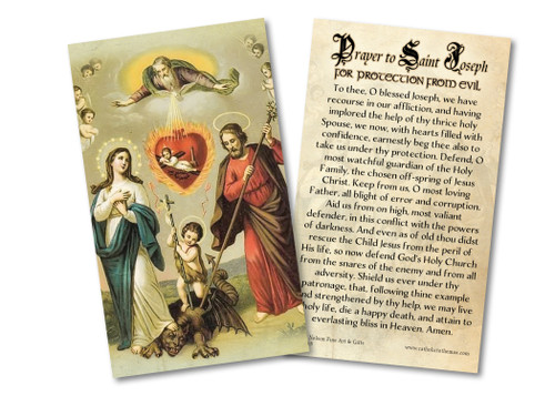 Prayer to St. Joseph for Protection from Evil Holy Card