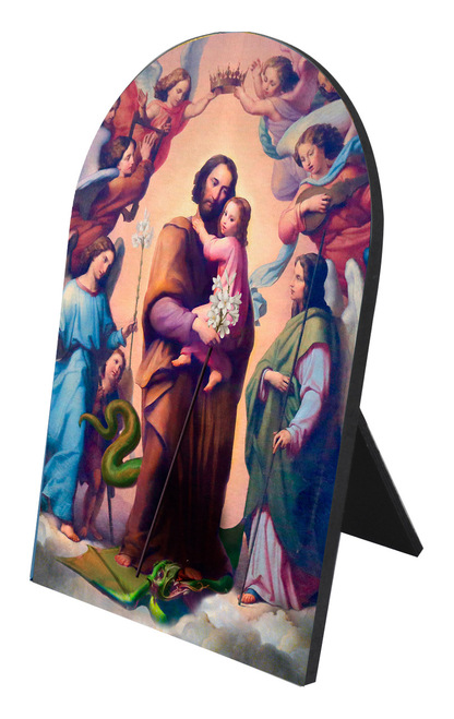 St. Joseph, Terror of Demons Arched Desk Plaque