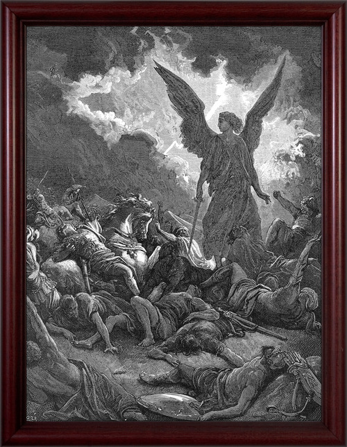 Archangel Gabriel Smiting the Camp of Sennacherib and the Assyrians by Gustave Dore - Cherry Framed Art