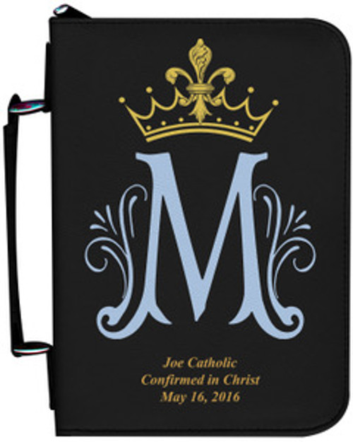Personalized Bible Cover with Marian Symbol - Black