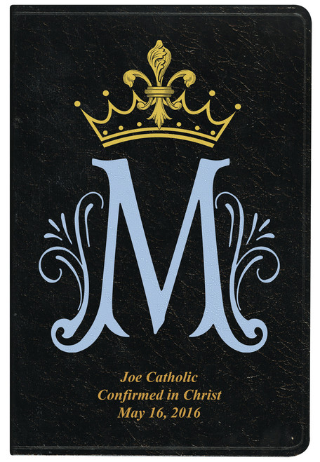 Personalized Catholic Bible with Marian Symbol - Black Genuine Leather NABRE