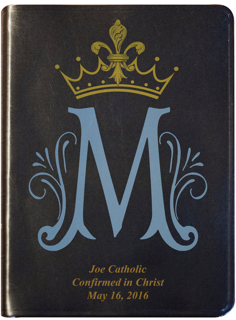 Personalized Catholic Bible with Marian Symbol- Black Bonded Leather RSVCE