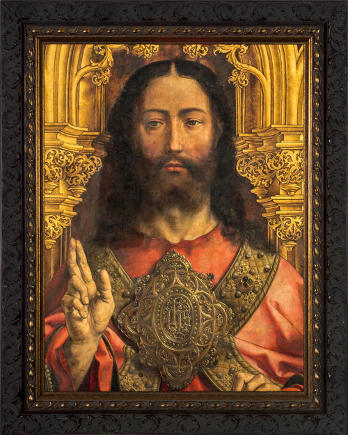 Christ Enthroned by Jan Gossaert - Ornate Dark Framed Canvas