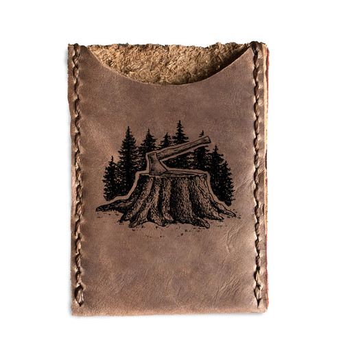 CORAGGIO Axe & Stump Leather Card Holder