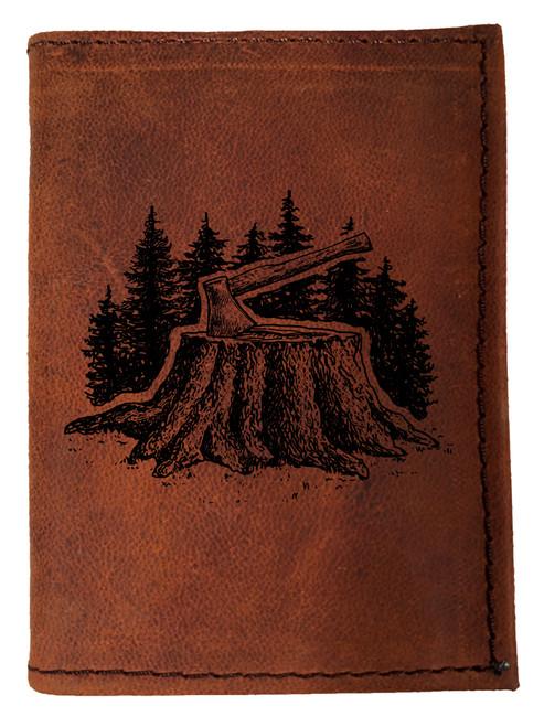 CORAGGIO Axe & Stump Tri-Fold Leather Wallet