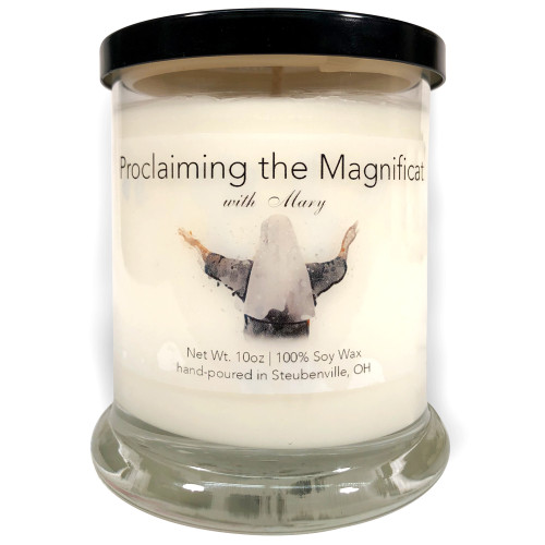 """""""Proclaiming the Magnificat with Mary""""  Fresh Lemon Soy Candle"""