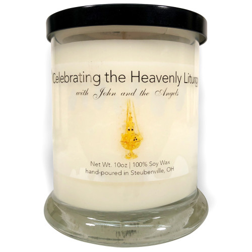 """""""Celebrating the Heavenly Liturgy with John and the Angels""""  Frankincense and Myrrh Soy Candle"""