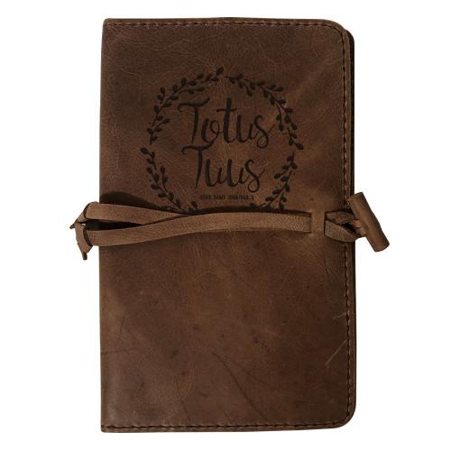 """Totus Tuus"" Rustic Leather Journal Cover"