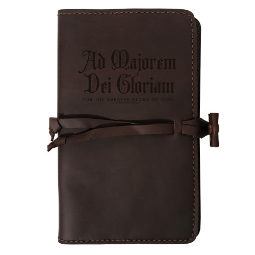 """""""AMDG"""" Rustic Leather Journal Cover"""