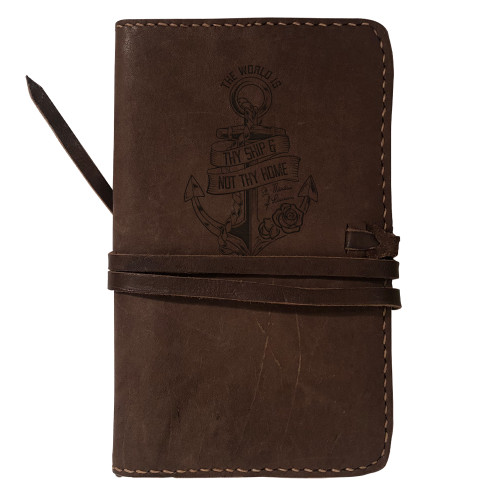 """""""The World Is Thy Ship"""" Rustic Leather Journal Cover"""
