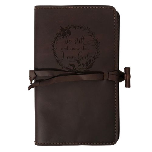 """""""Be Still And Know"""" Rustic Leather Journal Cover"""