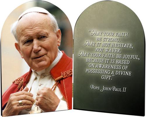 St. John Paul II Addressing the Faithful Arched Diptych