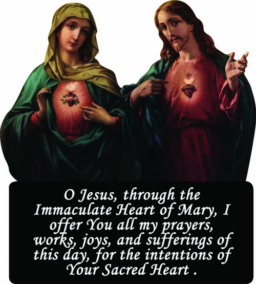 Sacred and Immaculate Hearts Cutout Magnet