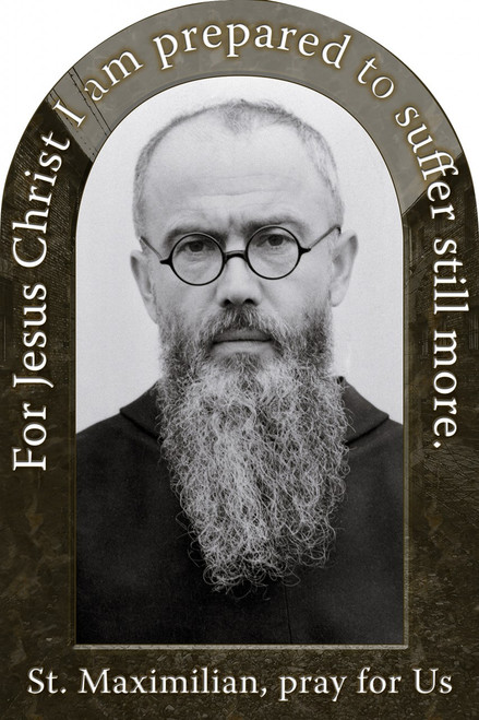 St. Maximilian Kolbe Prayer Arched Magnet