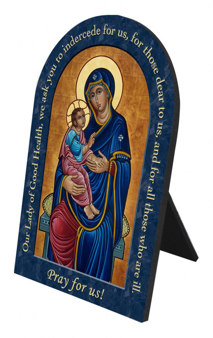 Our Lady of Good Health Prayer Arched Desk Plaque