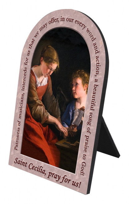St. Cecilia Prayer Arched Desk Plaque