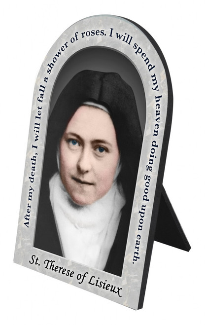 St. Therese of Lisieux Prayer Arched Desk Plaque