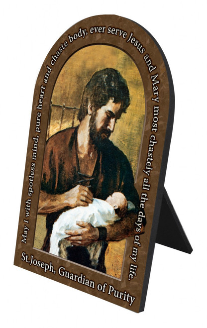 St. Joseph Guardian of Purity Prayer Arched Desk Plaque
