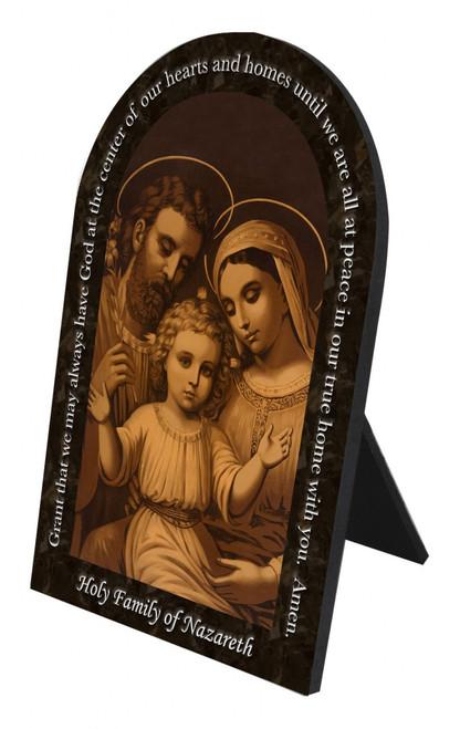 Sepia Holy Family Prayer Arched Desk Plaque