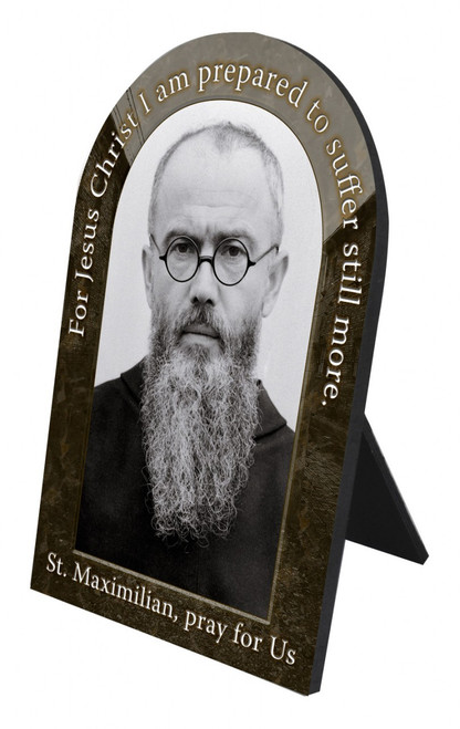 St. Maximilian Kolbe Prayer Arched Desk Plaque