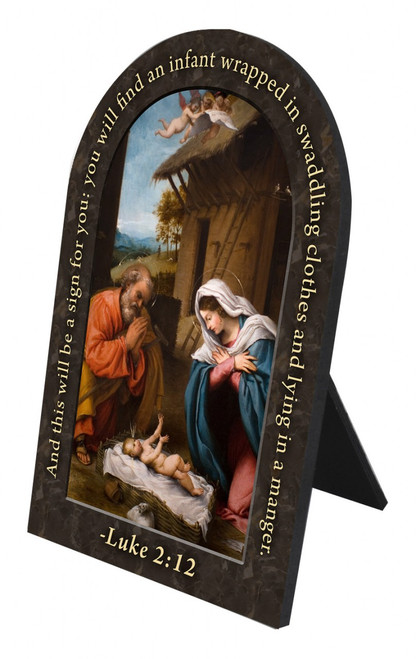 Nativity with Reaching Jesus Prayer Arched Desk Plaque