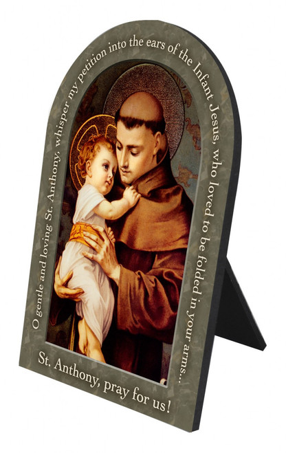 St. Anthony with Jesus Prayer Arched Desk Plaque